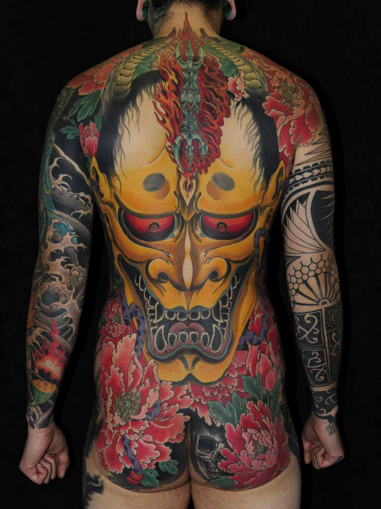 b5a6005cf Maori sleeve mixed with Hannya Mask japanese tattoo | Best Tattoo ...