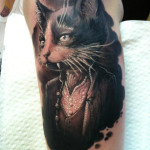 Master and Margarita Behemoth realistic tattoo illustration