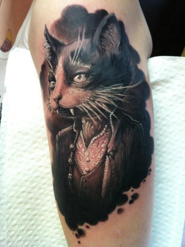 master and margarita behemoth realistic tattoo
