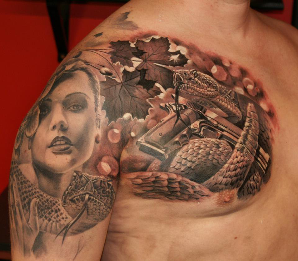 Modern Eve realistic tattoo iIllustration