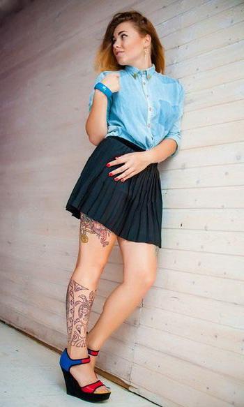 Native Shin Tracery tattoo