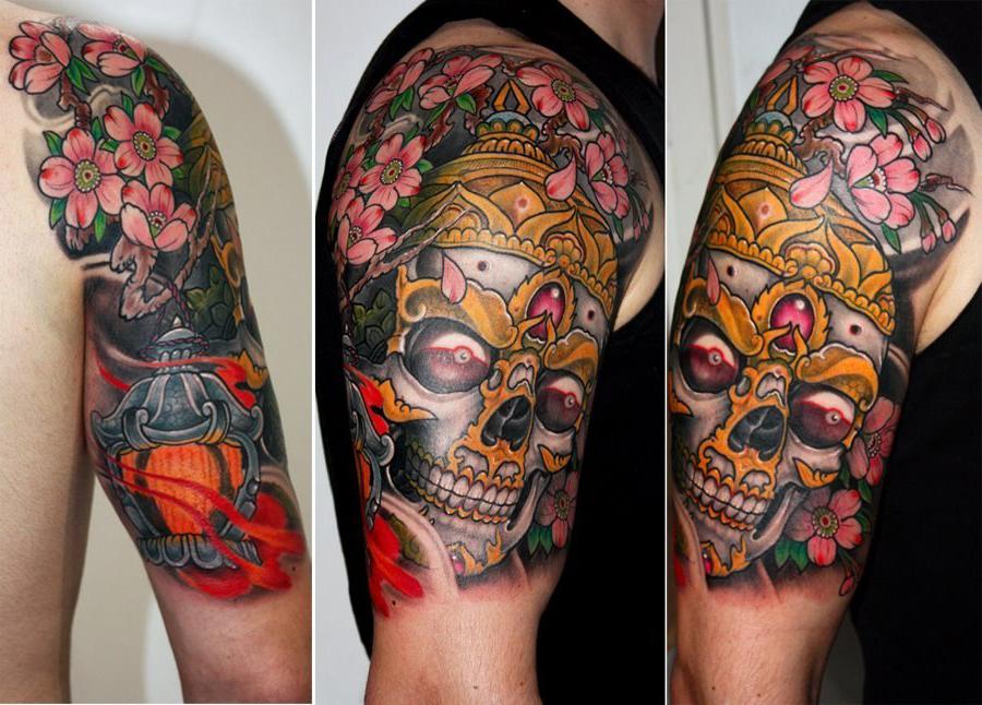 Noble shoulder skull japanese tattoo art best tattoo for Japanese tattoo artists