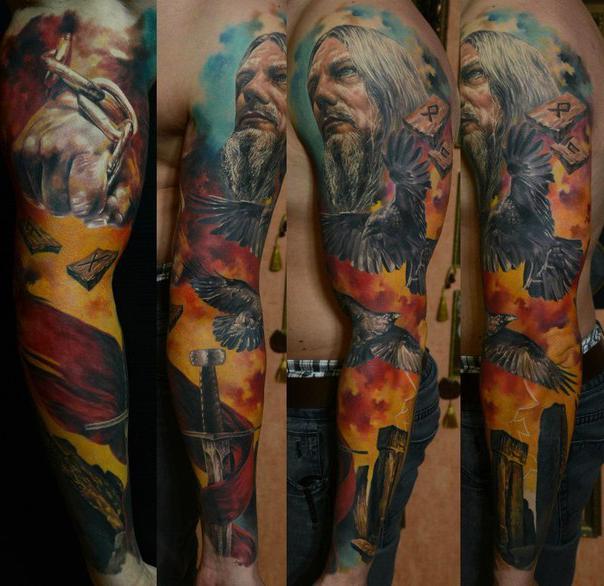 Nordic tattoo sleeve idea for men