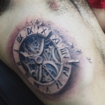 Old Clock 3D tattoo on Body Side