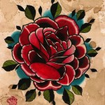 Old paper rose drawing tattoo