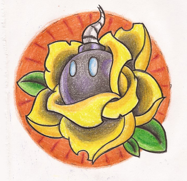 Old school bomb rose drawing tattoo
