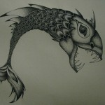 Parrot Beak Fish dotwork tattoo