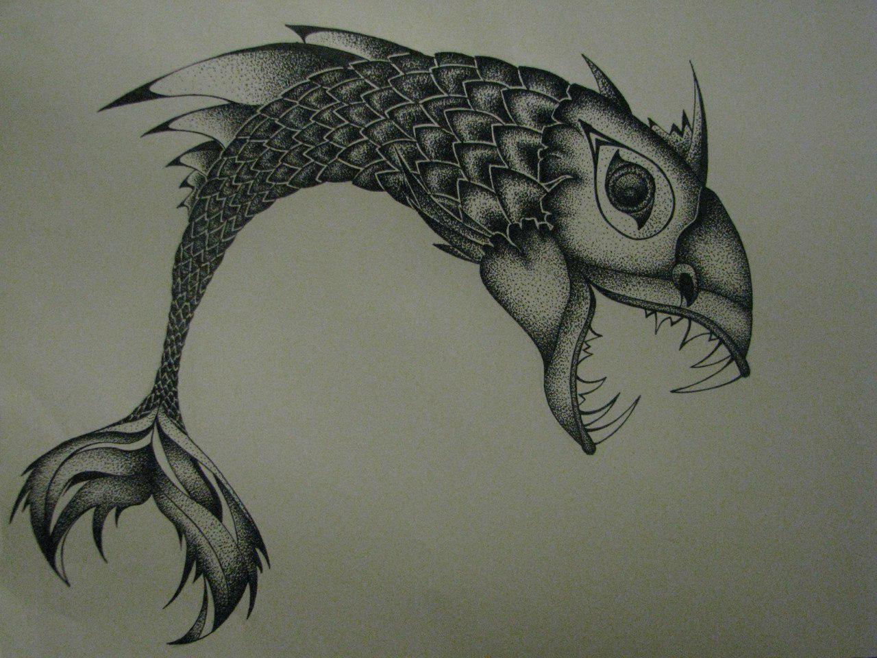 Parrot Beak Fish dotwork tattoo