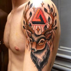Penrose Triangle Deer Horns traditional tattoo