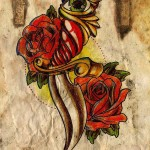 Pin Up Dagger rose drawing tattoo