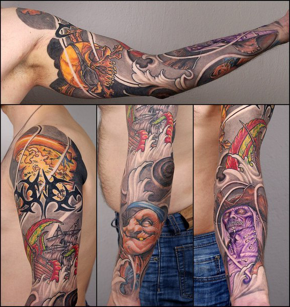 Pirate tattoo sleeve for men