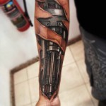 Piston Arm biomechanic tattoo