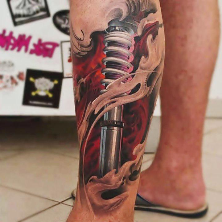 Piston Huckle-bone biomechanic tattoo