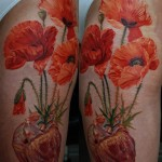 Poppy Heart realistic tattoo