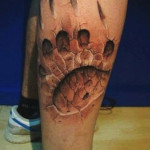 Predator Footprint 3D tattoo on Leg