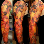 Realistic Autumn Leaves tattoo sleeve