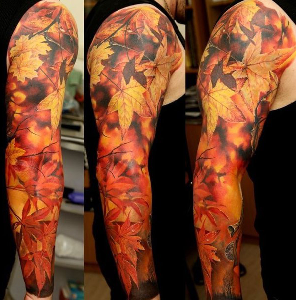 realistic autumn leaves tattoo sleeve best tattoo ideas gallery. Black Bedroom Furniture Sets. Home Design Ideas