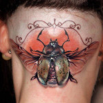 Realistic Bug on the Back of the Head tattoo