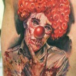 Realistic Evil Clown tattoo