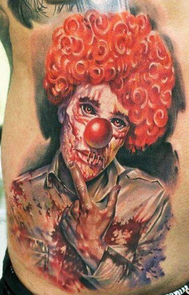 Realistic Evil Clown tattoo