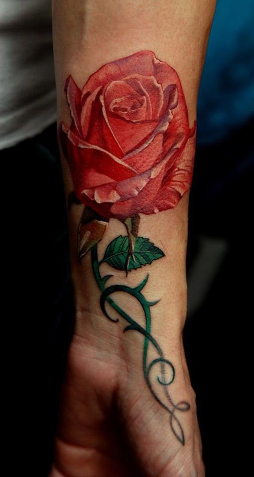 Red Rose realistic tattoo on Wrist