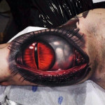 Red Snake Eye Watching you 3D tattoo