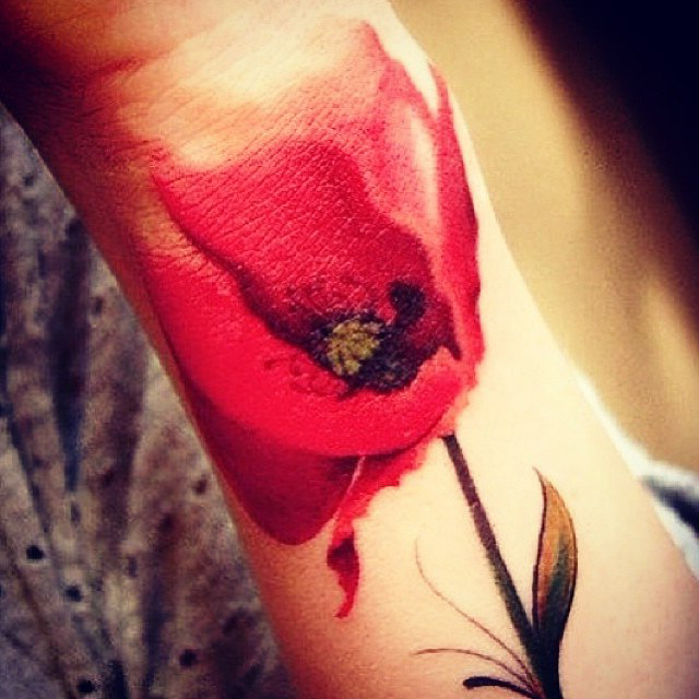 Red flower tattoo by jack gallowtree dubuddha org for Red flower tattoo