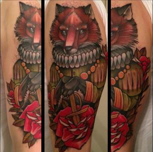 Rediculus Fox traditional tattoo