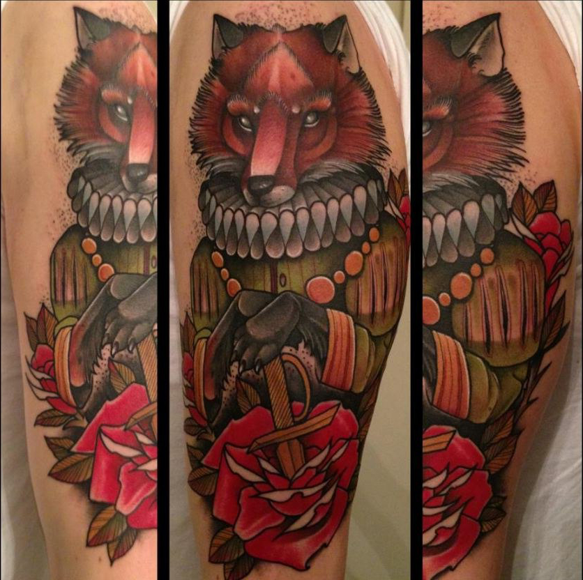 Rediculus Fox traditional tattoo