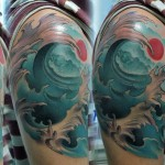 Rising Sun Wave japanese tattoo art