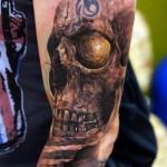 Rocklike Skull realistic tattoo