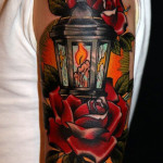 Rose Candle Lantern traditional tattoo