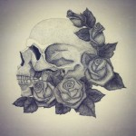Rose Scull Dotwork tattoo