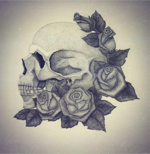 Rose Scull Dotwork tattoo