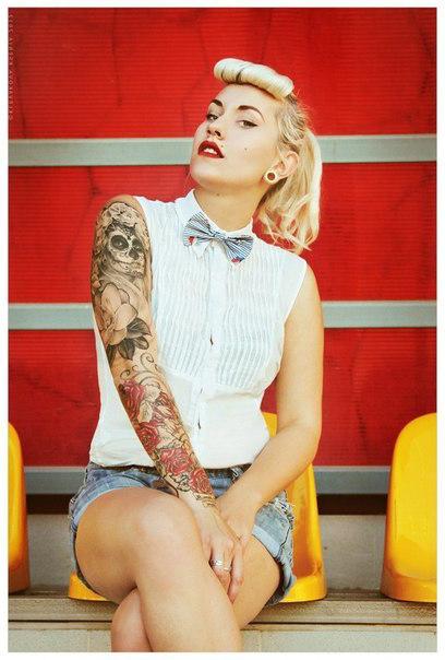 Santa Muerte Pin Up Girl tattoo design