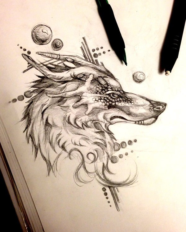 dragon wolf tattoo. Black Bedroom Furniture Sets. Home Design Ideas