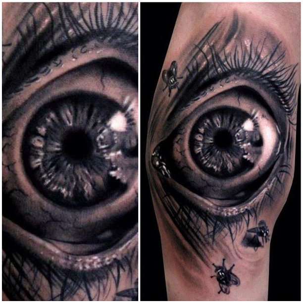 Scared Eye realistic tattoo