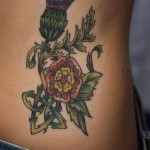 Scottish Thistle on belly tattoo