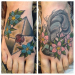 Send me a Letter traditional tattoo on feet