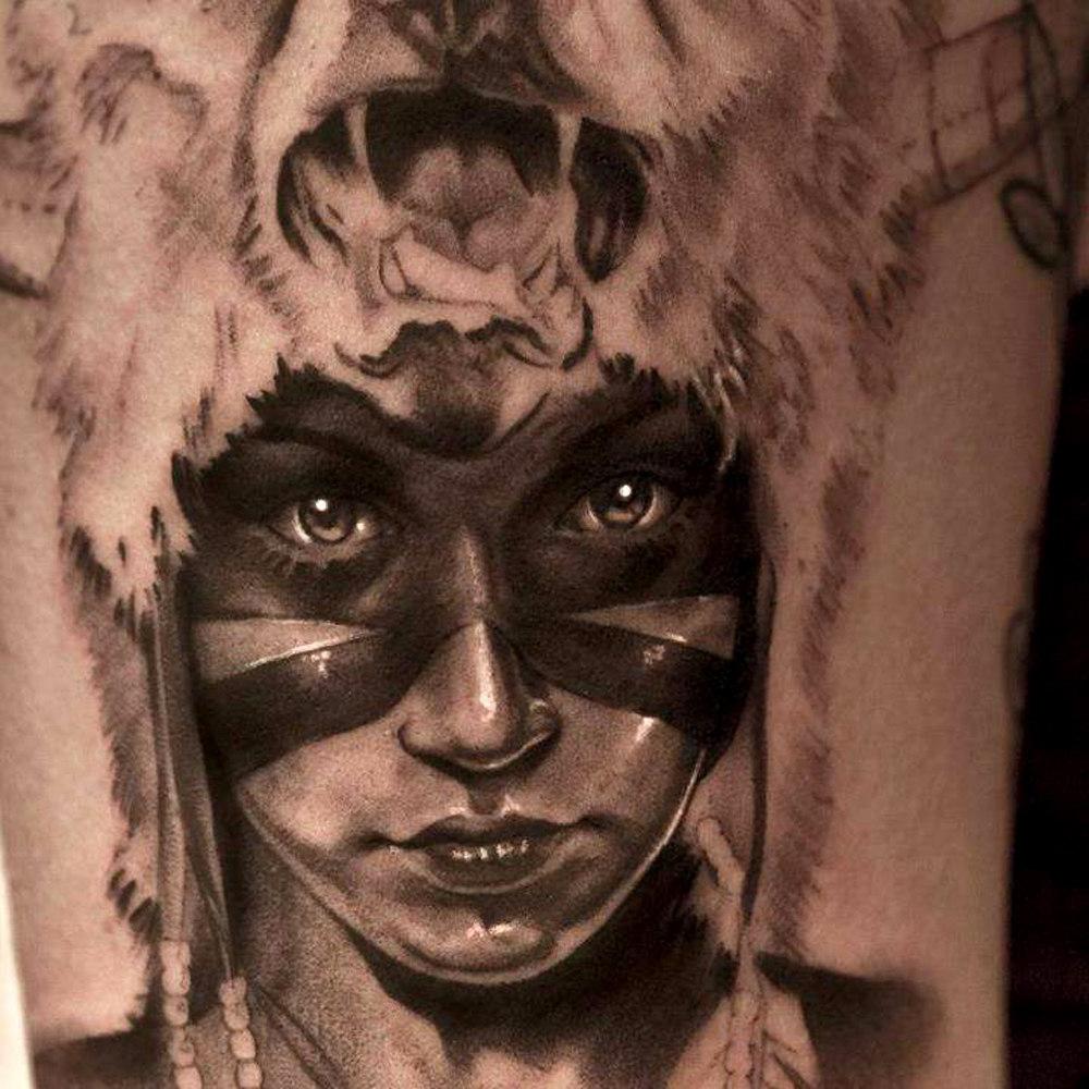 She Warrior realistic tattoo
