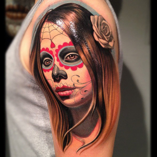 Shoulder Chicano realistic tattoo