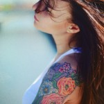 Shoulder Coloured Flower Motives tattoo