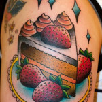 Shoulder Strawberry Cake traditional tattoo