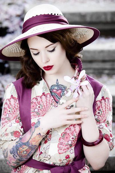 Shy Hat Pin Up Girl tattoo design