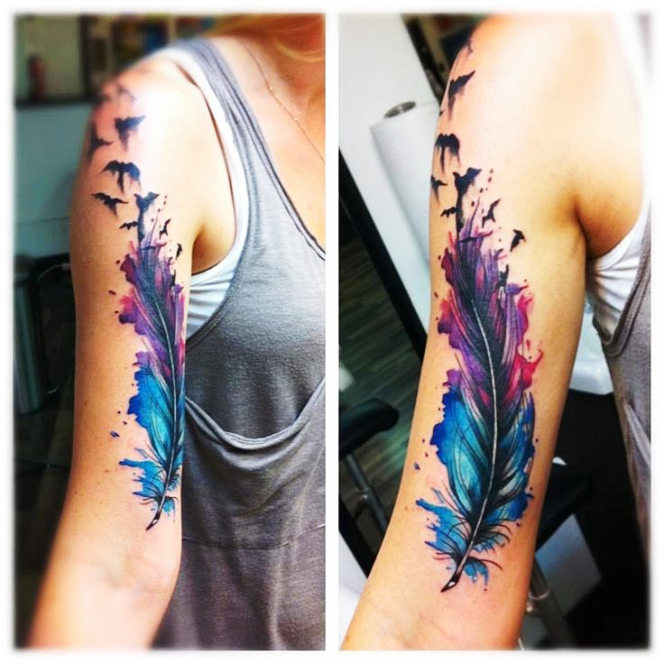 Colored Sleeve Tattoo Of Birds: Soft And Light Feather Tattoos