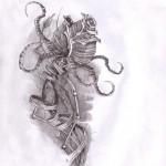 Skeleton Graphic rose drawing tattoo