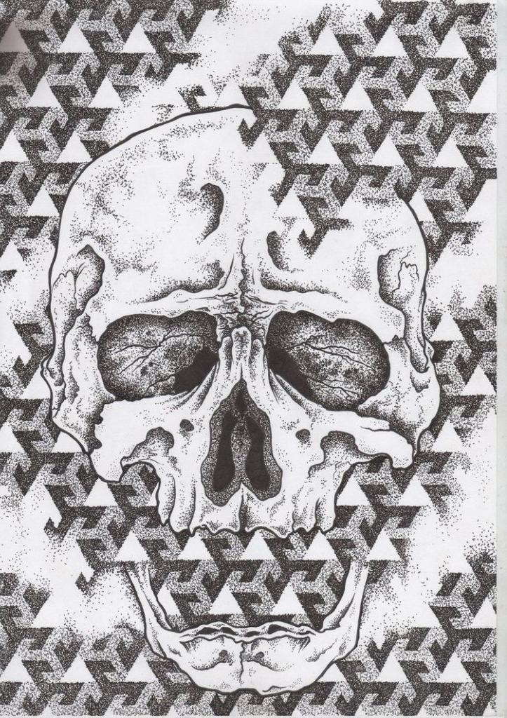 Skull in Pain dotwork tattoo