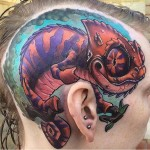 Smiling Chameleon Head tattoo