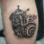 Snail Vader Dotwork Star Wars tattoo