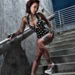 Stairs Pin Up Girl tattoo design